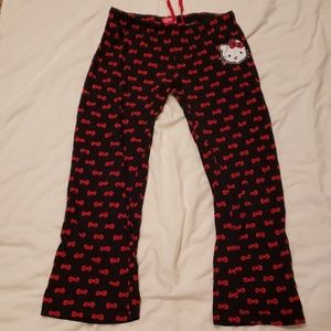Hello Kitty Black/Red Pajama Capris Drawstring MED